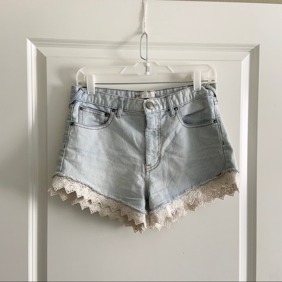 Free People Pants - Free People Pinstripe Lace Denim Jean Shorts 27